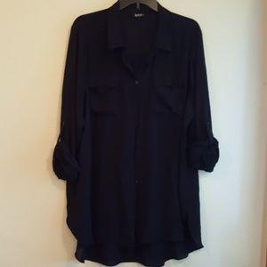 ANA Navy tunic sheer casual blouse 2X